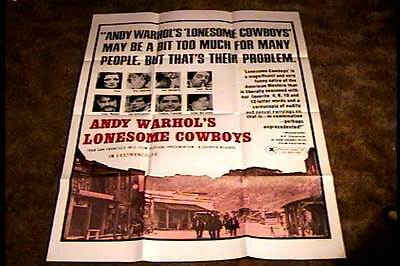 $375 • Buy Andy Warhol Lonesome Cowboys Orig Movie Poster 1968 Joe Dallesandro