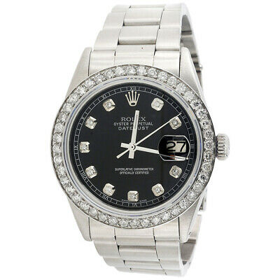 $ CDN7605.86 • Buy Mens Rolex 36mm DateJust Diamond Watch Oyster Steel Band Custom Black Dial 2 CT.