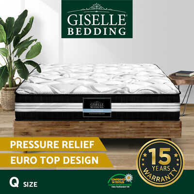 AU249.90 • Buy Giselle Bedding Mattress QUEEN Size Bed Euro Top Pocket Spring Firm Foam 30CM