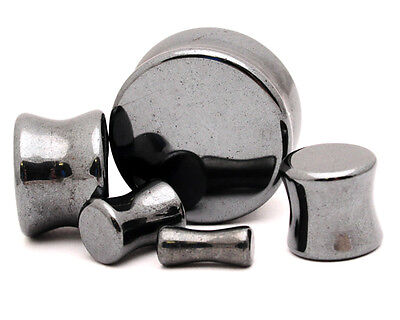 $5.99 • Buy Hematite Stone Plugs Set Gauges PICK SIZE