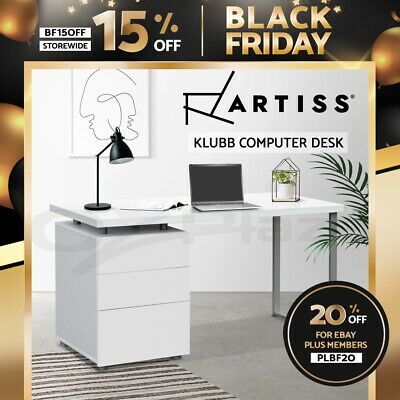 AU189.90 • Buy Artiss Computer Desk Office Study Table Home Metal Student Drawer Cabinet White