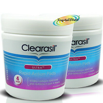 2x Clearasil Ultra Rapid Action Pads Cleanser Exfoliate Clear Spot Redness Pore  • 17.99£