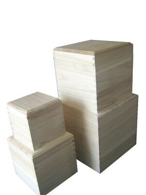 CUBE Square Plain Wooden Box With Removable Lid - Choice Of Sizes (WB20-23)  • 7.71£