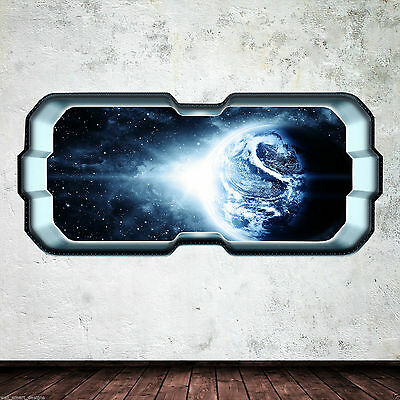 Space Ship Earth Window Stars Full Colour Wall Art Sticker Decal Boys Bedroom • 21.99£
