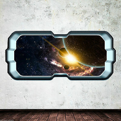 SpaceShip Window Stars Planets Full Colour Wall Art Sticker Decal Boys WSDFC6773 • 21.99£