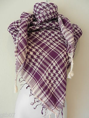 $7.39 • Buy Purple White Shemagh Head Scarf Neck Wrap Face Cover Tactical Military Arab Army