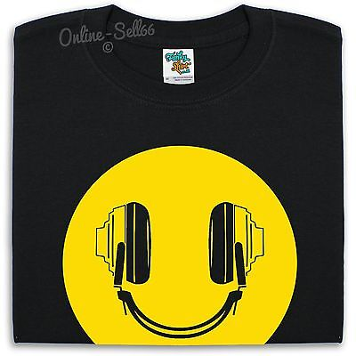 Dj Headphones Smiley T Shirt Men Women Kids Acid Rave Dance Ibiza Club  • 9.95£