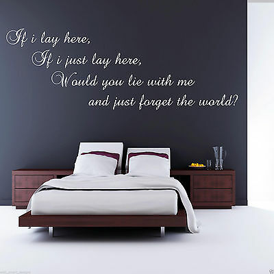 IF I LAY HERE SNOW PATROL Wall Art Sticker Lounge Decal Mural Transfer WSDSP2 • 13.99£