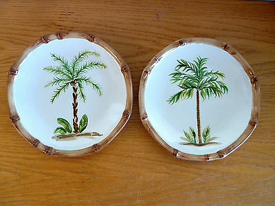 $31.49 • Buy Home Trends West Palm Tree Design Stoneware  2 Salad Plates   9