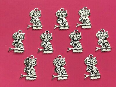 Tibetan Silver Owl Charms 10 Per Pack • 1.35£