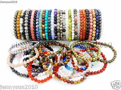 $1.77 • Buy Handmade 6mm Mixed Natural Gemstone Round Beads Stretchy Bracelet Healing Reiki