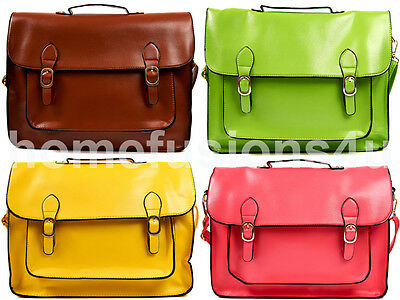 Ladies Large Satchel Shoulder Handbag Vintage Leather Work Briefcase School Bag • 6.95£