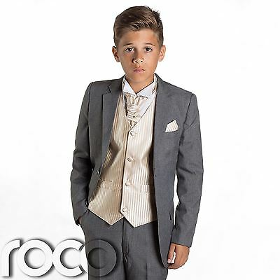 £32.99 • Buy Boys Grey Suit, Page Boy Suits, Prom Suits, Boys Wedding Suits, Gold Waistcoat