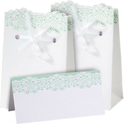 LACE WEDDING FAVOUR BAG PLACE CARD Party Table Accessory Guest Gift Treat Case • 0.99£