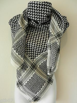 $8.79 • Buy Unisex Black White Shemagh Head Scarf Neck Wrap Authentic Face Cover Military