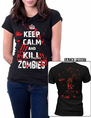 £12.01 • Buy NEW Keep Calm And Kill Zombies Bloody Handprint Zombie Costume Girls T-Shirt Top