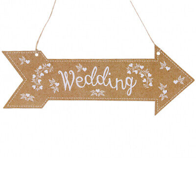 £3.90 • Buy 3 WEDDING ARROW HANGING Paper Card Party Venue Two Sided Direction Sign Hanger
