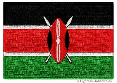 KENYA FLAG Embroidered Iron-on PATCH AFRICAN COUNTRY EMBLEM AFRICA Kenyan NEW • 3.63£