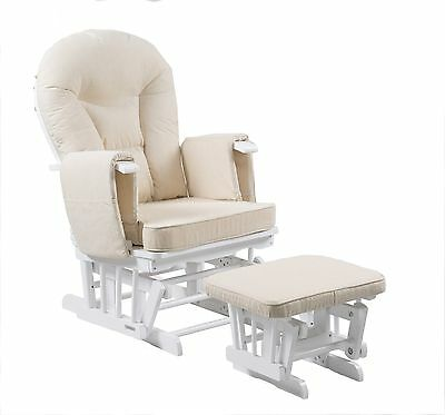 Serenity White Nursing Glider Maternity Gliding Rocking Chair With Footstool • 179.99£