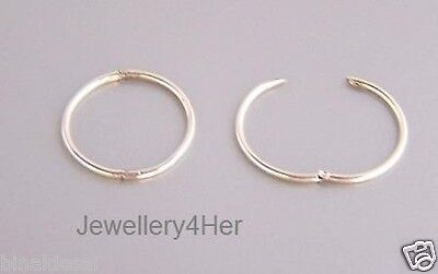 925 Sterling Silver 13mm Tiny Small Hinged Hoop Sleeper Earrings X'mas GIFT NEW  • 8.99£