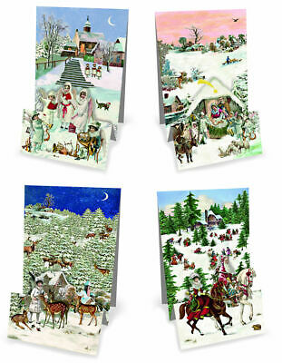 £4.89 • Buy Christmas Panorama Folded Pop Up Advent Calendar Cards Traditional German Design