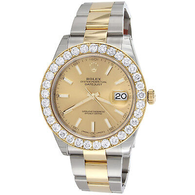 $ CDN27233.20 • Buy Mens 126333 Rolex DateJust 41mm Two Tone Diamond Watch Champagne Stick Dial 5 CT