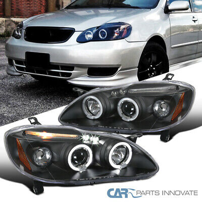 $129.95 • Buy Fit Toyota 03-08 Corolla Black LED Halo Projector Headlights Driving Head Lamps
