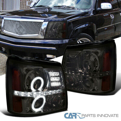 $216.95 • Buy For Cadillac 02-06 Escalade LED Halo Projector Headlights Lamps Smoke Left+Right