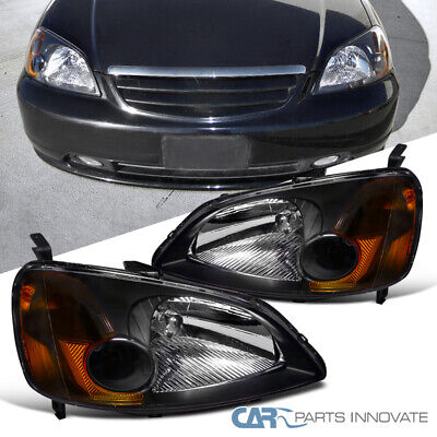 $68.55 • Buy Fit Honda 01-03 Civic 2/4Dr Coupe Sedan Black Headlights Turn Signal Lamps Pair