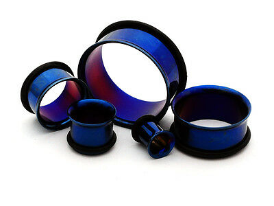 $7.49 • Buy Pair Of BLUE Steel Single Flare Tunnels Set Gauges Plugs PICK SIZE