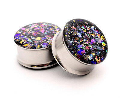 $11.99 • Buy Embedded Dichroic Glass Plugs Gauges Choose Size