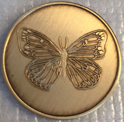 Butterfly Serenity Prayer Bronze AA Al-Anon Medallion Coin Recovery Chip  • 1.70$