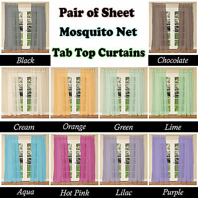 10 Colors - PAIR Of Sheer MOSQUITO NET Tab Top Curtains Fits 150 To 240cm Wide • 16.61£