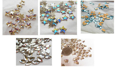 Swarovski Foiled Flatback Rivoli Stars, Hearts & Navette Crystals - Glue On • 3.50£