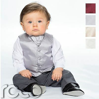 £19.99 • Buy Baby Boys Waistcoat Suit, Page Boy Suits, Grey Trousers, Striped Pattern