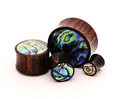 $10.99 • Buy Sono Wood With Abalone Inlay Plugs Set Gauges PICK SIZE Organic