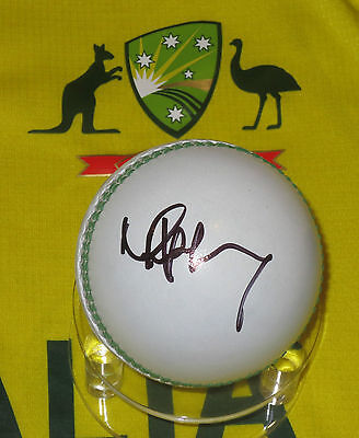 AU125 • Buy Mike Hussey Signed White Cricket Ball + C.O.A. & Photo Proof Of Signing