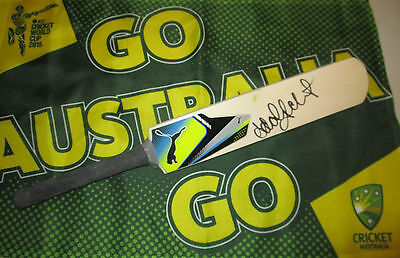 AU149 • Buy Adam Gilchrist Signed Blue Puma Mini Cricket Bat + COA & Photo Proof Of Signing