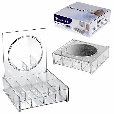Acrylic Clear 12 Compartment Jewellery Case Earrings Box With Vanity Mirror Gift • 6.99£