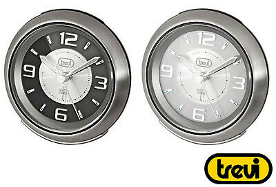 £7.95 • Buy Clock Silent Sweep Alarm Bedside Travel Easy Read Snooze Brushed Stainless Steel