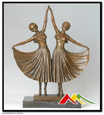 SIGNED D.H.Chiparus Bronze Statue Art Deco Girl Bronze Sculpture  The Sisters    • 740.82£