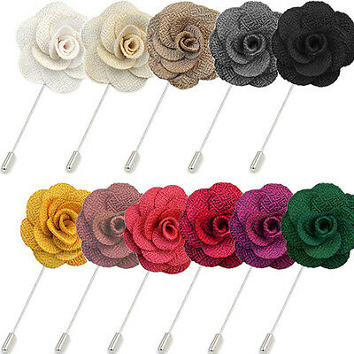 ROSE LAPEL PIN Handmade Coat Flower Hatpin Men Suit Wedding Party Accessory Gift • 3.90£