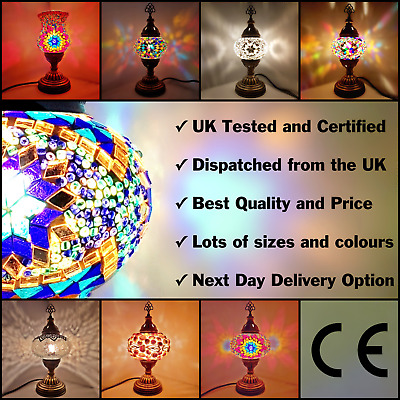 Turkish Table Lamp Moroccan Colourful Glass Mosaic Light UK TESTED + APPROVED • 24.95£