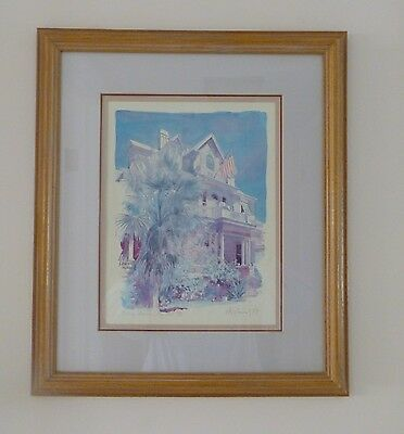 $95 • Buy Lithograph Curry Mansion Framed R. E. Kennedy Key West Number 18 X 21  Beach