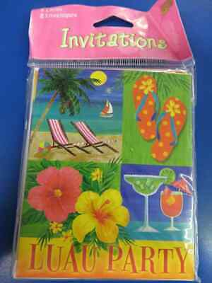 Island Tropics Luau Flip Flops Summer Beach Pool Party Invitations W/Envelopes • 5.78£