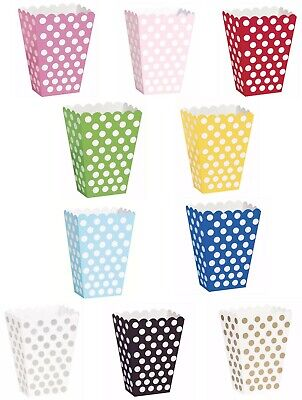 Popcorn Treat Boxes Polka Dots Boxes Spot  Cinema Favour Party Paper Loot  • 2.25£