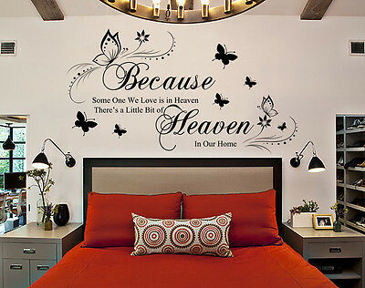 Because Someone We Love Is In Heaven Quote Wall Art Sticker  Uk 175 • 7.99£