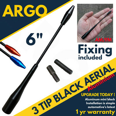 Black Aerial Bee Sting Car Mast Antenna Ariel Arial Radio Blue Red AM FM Roof • 3.97£