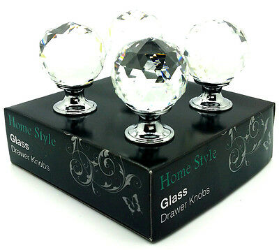 4 X 30 Mm Large Crystal Diamond Glass Door Knobs For Drawer Cabinet Furniture  • 10.99£