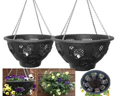 £12.95 • Buy Black Easy Fill Plants Flowers Hanging Garden Outdoor Baskets W Chains 12  / 14